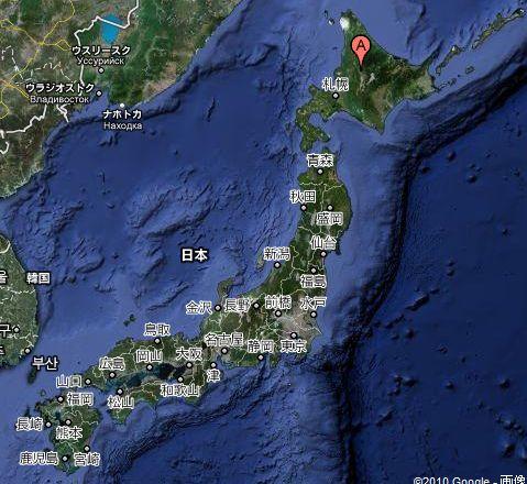 他の国から日本地図旭川